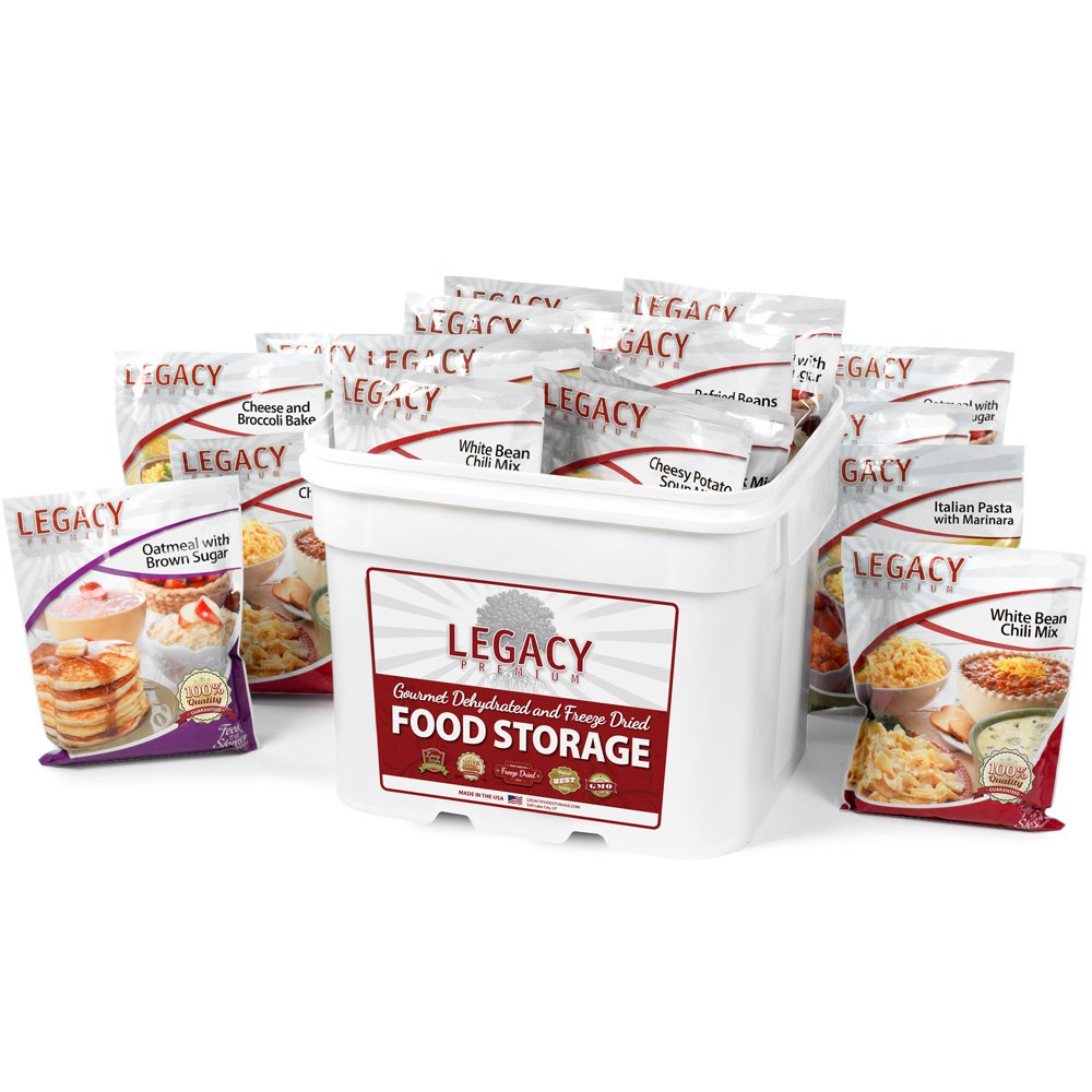 Gourmet Survival Home Food Storage - 120 Large Servings Meal Assortment: 31 Lbs Emergency Supply - Disaster Prep Freeze Dried Supply Kit - Dehydrated Breakfast, Lunch & Dinner by Legacy Premium Food Storage