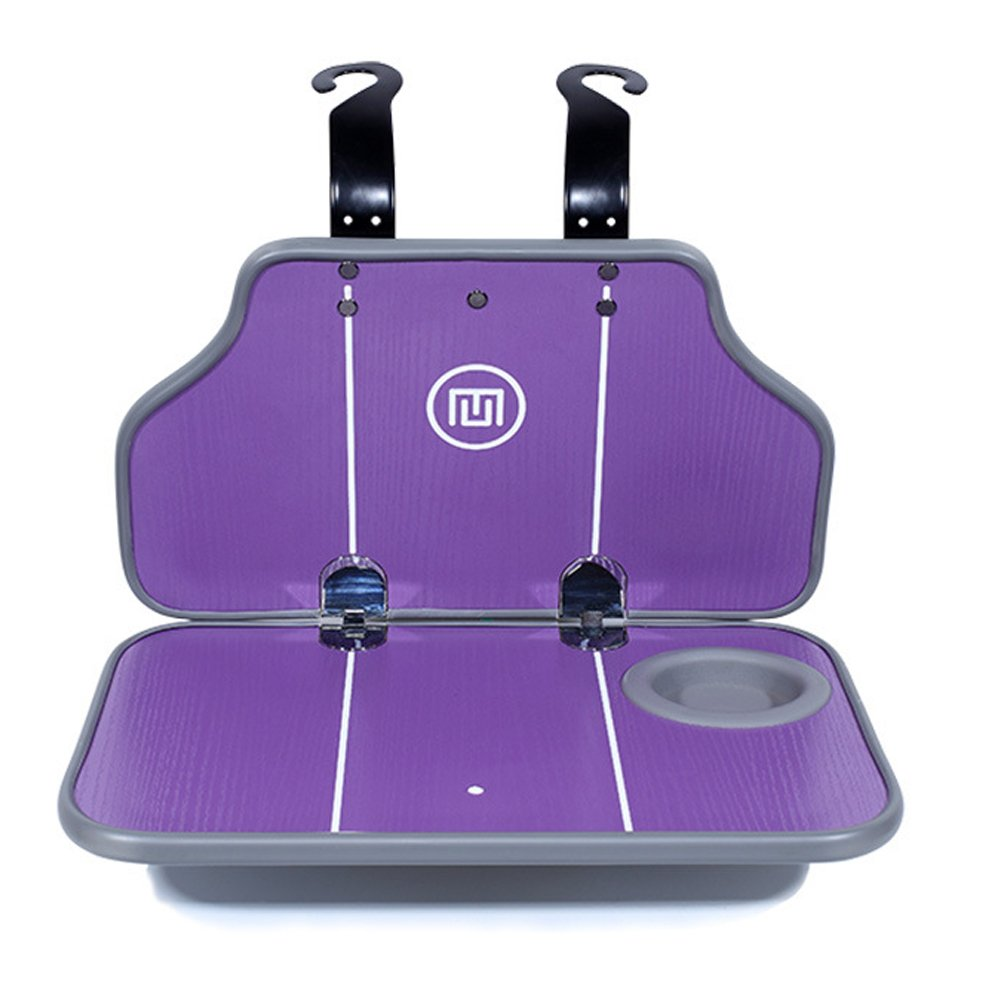 Exttlliy Multifunctional Foldable Wooden Auto Car Seat Back Organizers Desk Table Stand Laptop Food Tray Drink Cup Holder (Purple)
