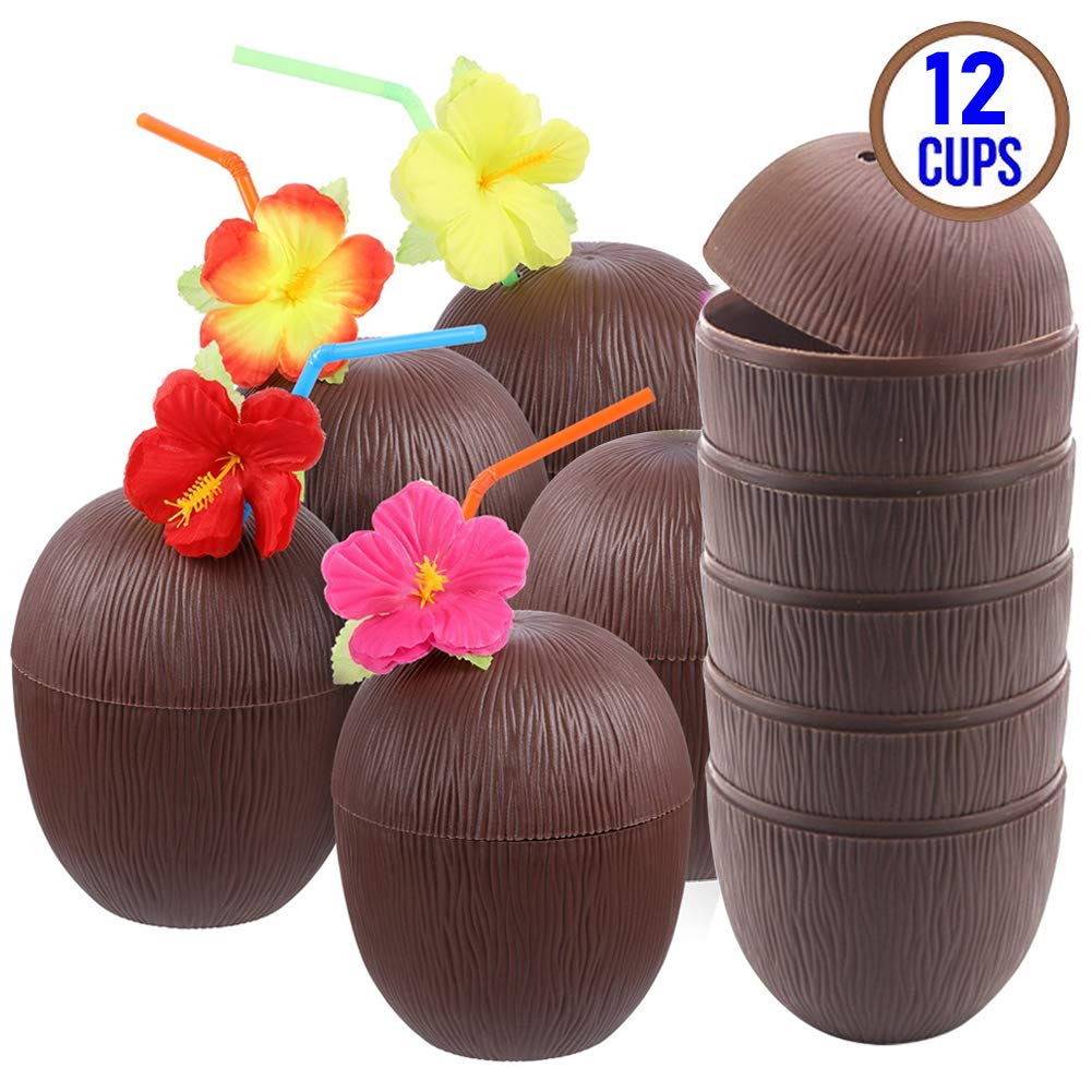 FuturePlusX Tropical Coconut Drink Cups, 12PCS Plastic Hawaii Party Cups with Straws for Hawaiian Luau Party Children Summer Beach Party