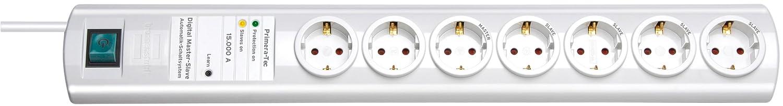 Brennenstuhl Primera-Tec, Steckdosenleiste 7-fach mit Überspannungsschutz und Master Slave Funktion (2m Kabel und Schalter) Farbe: weiß 1153320427