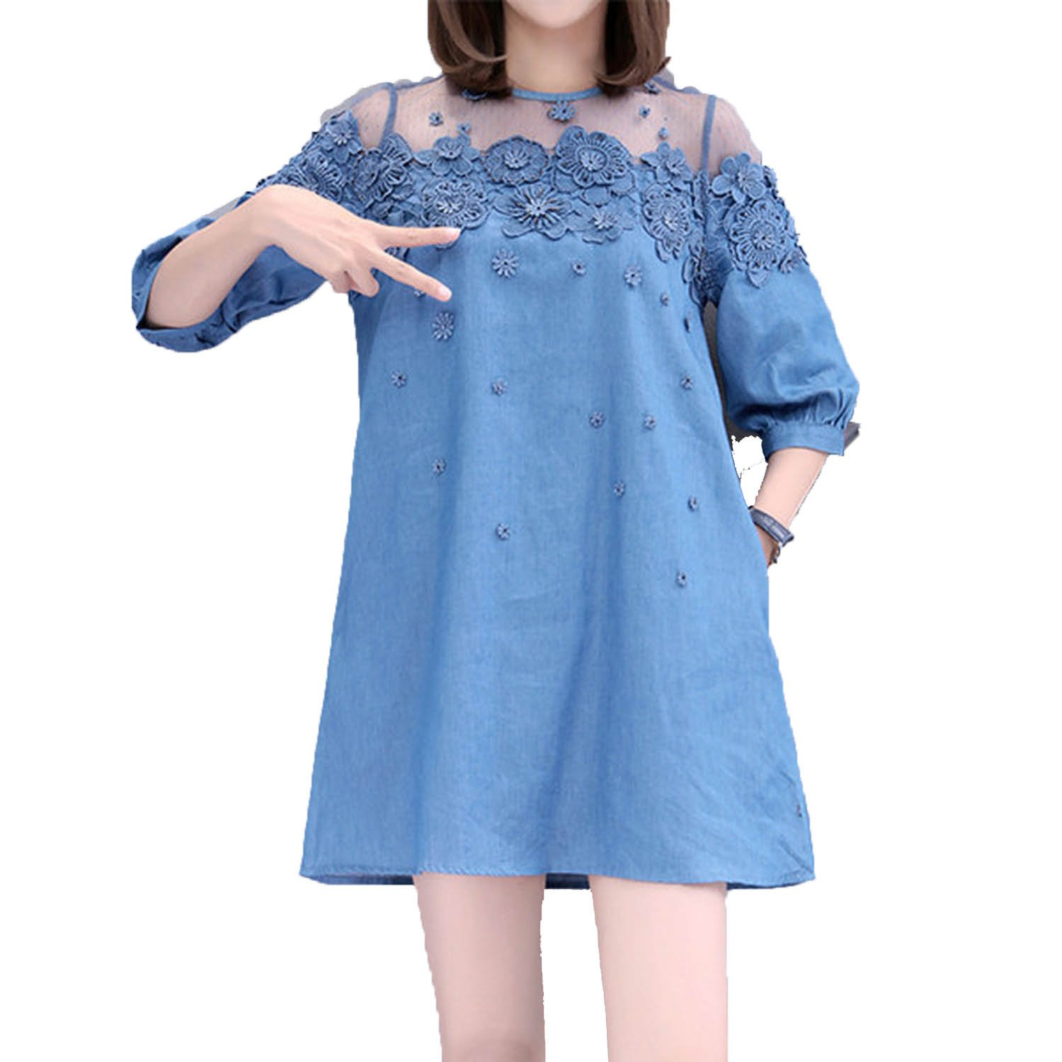 2c6e54a5d16 UNIQUE SHOP New Arrival Lace Bead Patchwork Summer Women Denim Dresses Half  Sleeves Loose A Line Dresses Plus Sizes Jeans Dresses D79502A