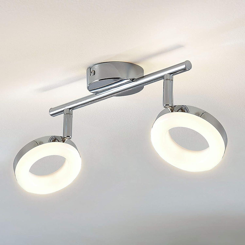 Lampenwelt LED Deckenlampe 'Ringo' (Modern) in Chrom aus Metall u.a. für Wohnzimmer & Esszimmer (2 flammig -