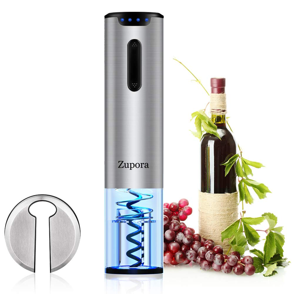 Electric Wine Opener, Zupora Rechargeable Cordless Automatic Corkscrew Wine Bottle Opener Battery Power Indicator with Foil Cutter (Stainless Steel), Refined Silver (Wine opener) (Silver)