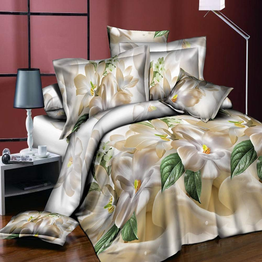 RONSHIN Bed Supplie,4Pcs/Set 3D Flower Series Printing Bed Sheet Pillow Cover Quilt Cover for Home Christmas Decor