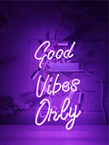 Neon Signs Purple Good Vibes Only Neon Lights Neon Light Sign Neon Words Art Decorative Wall Light Dector for Kids Room, Beer Bar, Wedding,Party,Christmas Real Glass Pure Hand Curved 14x9 Inches