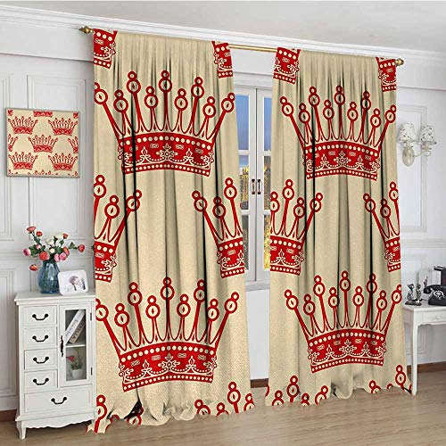 smallbeefly Queen Patterned Drape For Glass Door Crowns Pattern in Red Vintage Design Coronation Imperial Kingdom Nobility Theme Decor Curtains By 108