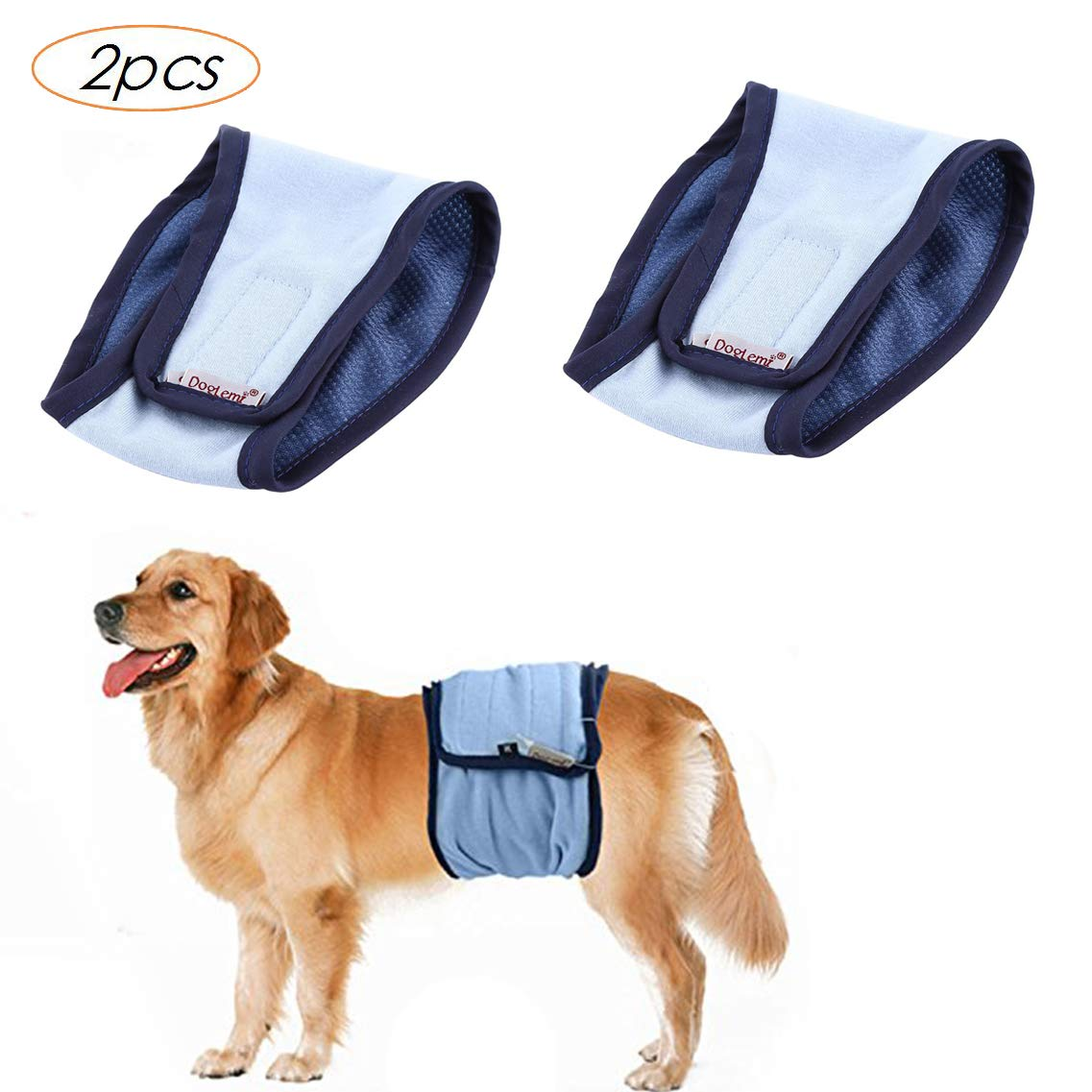 Tineer Reusable Wrap Leakproof Diapers for Male Pet Dog,Washable Puppy Belly Band Physiological Sanitary Pants 2pack M, Black+Blue