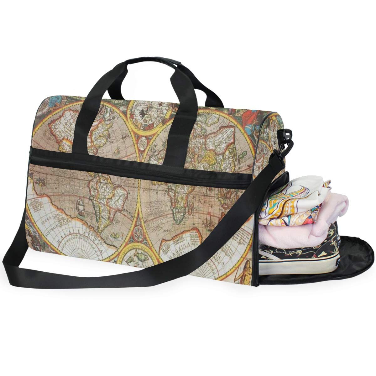 Travel Tote Luggage Weekender Duffle Bag Antique World Map Large Canvas shoulder bag with Shoe Compartment