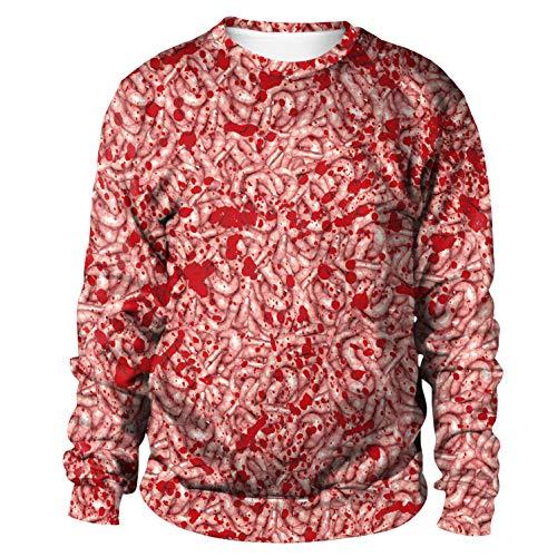 (H&ZY Unisex 3D Digital Print Halloween Hoodie Pullover Cosplay Costume Long Sleeve T-Shirt Intestines)