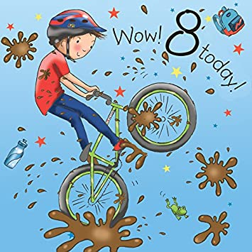 Twizler 8th Birthday Card For Boy With Bike Eight Year Old Age 8