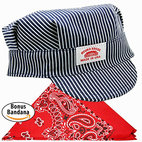 Family Train Costumes (Adult Train Conductor Hat - Bonus Bandana- Made in USA For 111 Years – Sold by Vets)