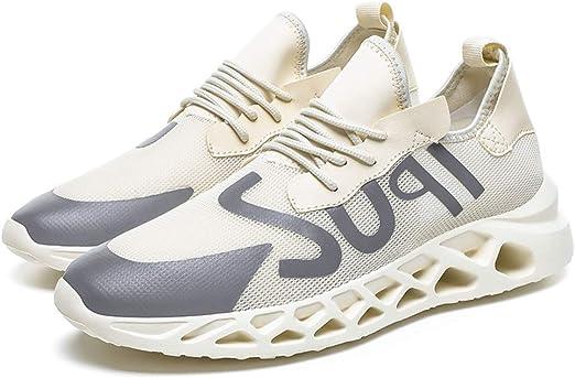 ღLILICATღ Zapatillas Running para Hombre Aire Libre y Deporte Transpirables Casual Zapatos Gimnasio Correr Sneakers Negro Blanco Beige: Amazon.es: Deportes y aire libre