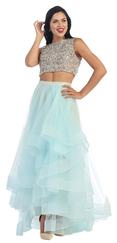 Amazon.com: Royal Queen RQ7398 Two Piece Semi Formal Dance Dress ...