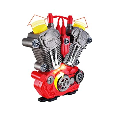 æ—  Engine Motor Toy Simulation Engineset DIY RC Car Children Educational Toys with Music and Lights for Children and Adults: Toys & Games