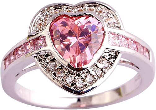 Fashion Women Ring Amethyst Halo Statement Rings Wedding Jewelry Gift New LA