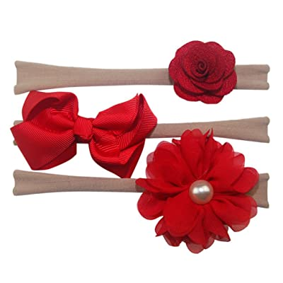 b26932cc54 Matoen 3Pcs Set Kids Elastic Floral Headband Hair Girls Baby Bowknot  Hairband