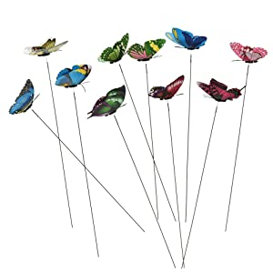 Datingday 10 Pack Colourful Garden Butterflies On Sticks Miniature Fairy Garden Decoration