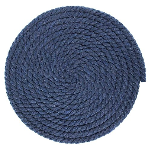 1/4-Inch-Thick Twisted Cotton Macrame Craft Rope - Large Variety of Color and Pattern Options (Navy, 10 Feet) - Navy Solids Braided Rug