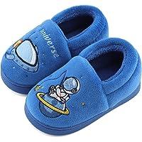 LACOFIA Zapatillas de Estar por Casa Cálidas de Invierno para Niños Pantuflas Space Peluche Antideslizantes