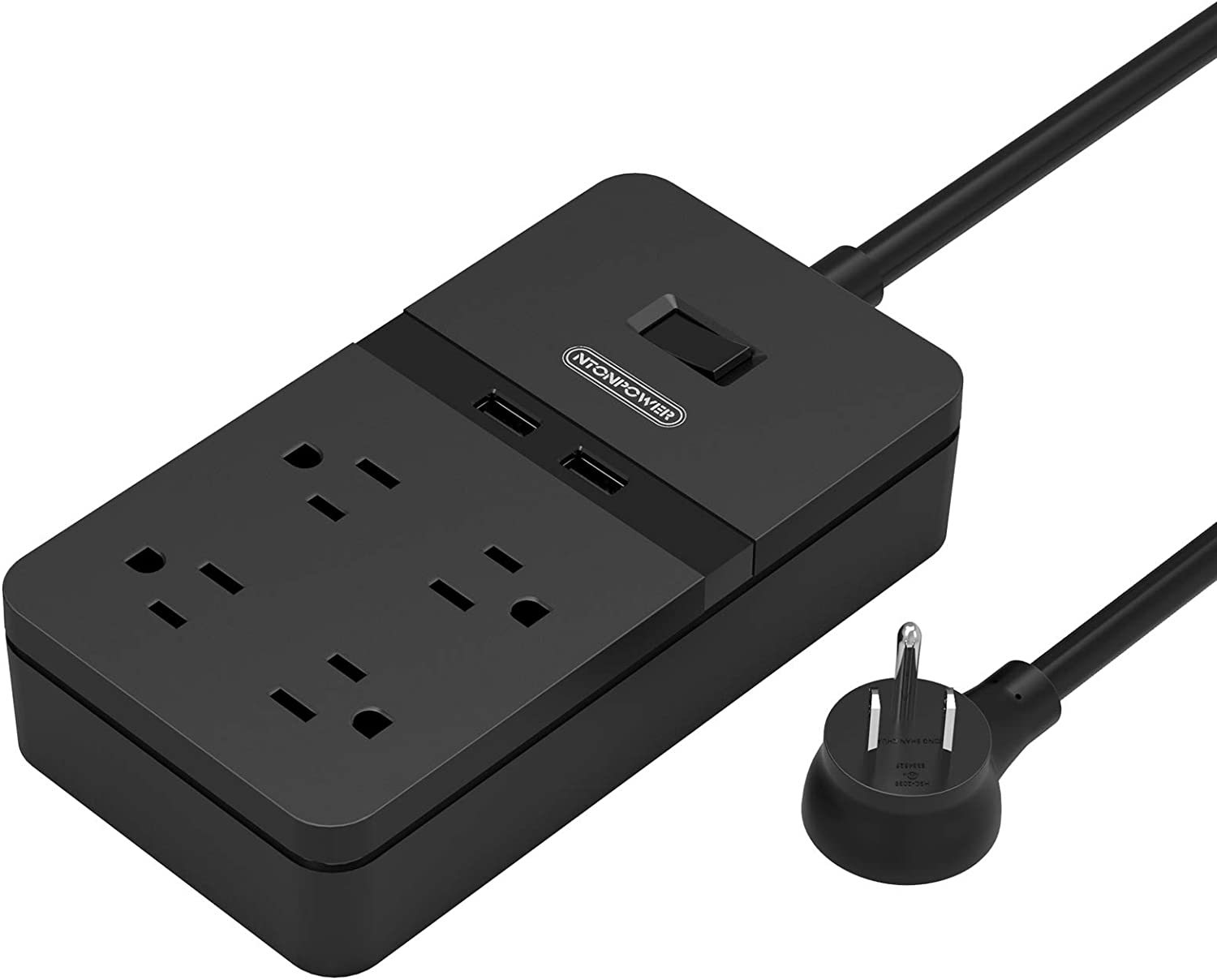 Flat Plug Power Strip with USB - NTONPOWER Mountable Surge Protector Flat Plug, 4 Outlets 2 USB Desktop Charging Station, 5ft Heavy Duty Extension Cord, 15A Circuit Breaker for Home and Office - Black