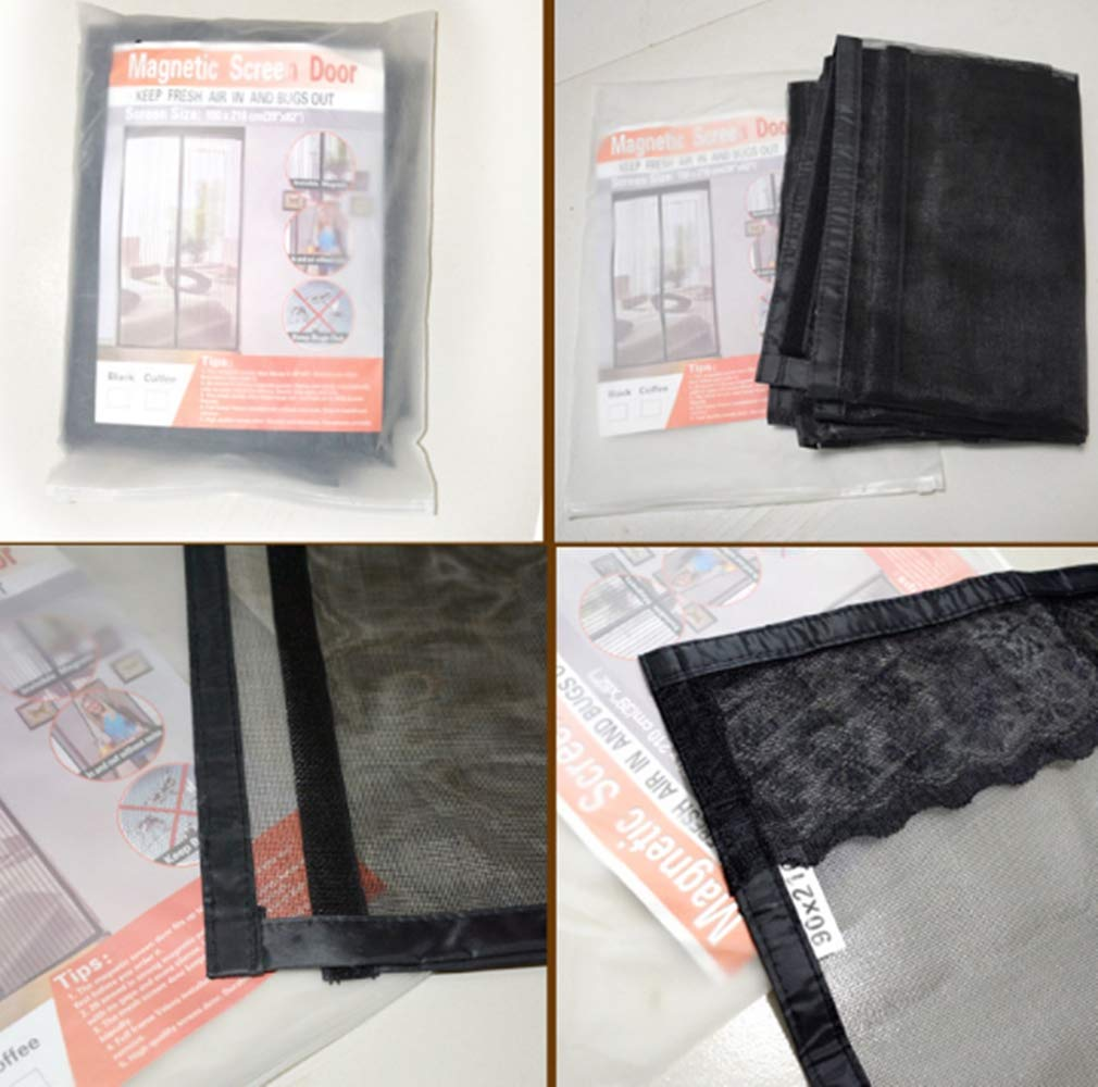 Mitef puerta mosquitera magn/ética con malla de fibra de vidrio duradera y gancho y bucle de marco completo gris