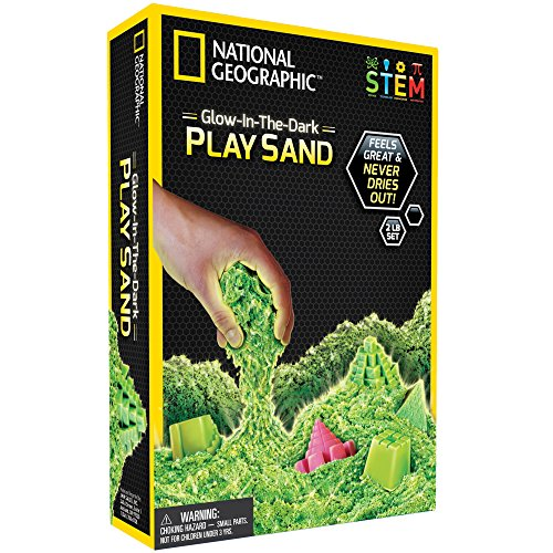 NATIONAL GEOGRAPHIC Play Sand - 2 LBS of Sand with Castle Molds and Tray (Glow-in-the-Dark!) - A Kinetic Sensory -