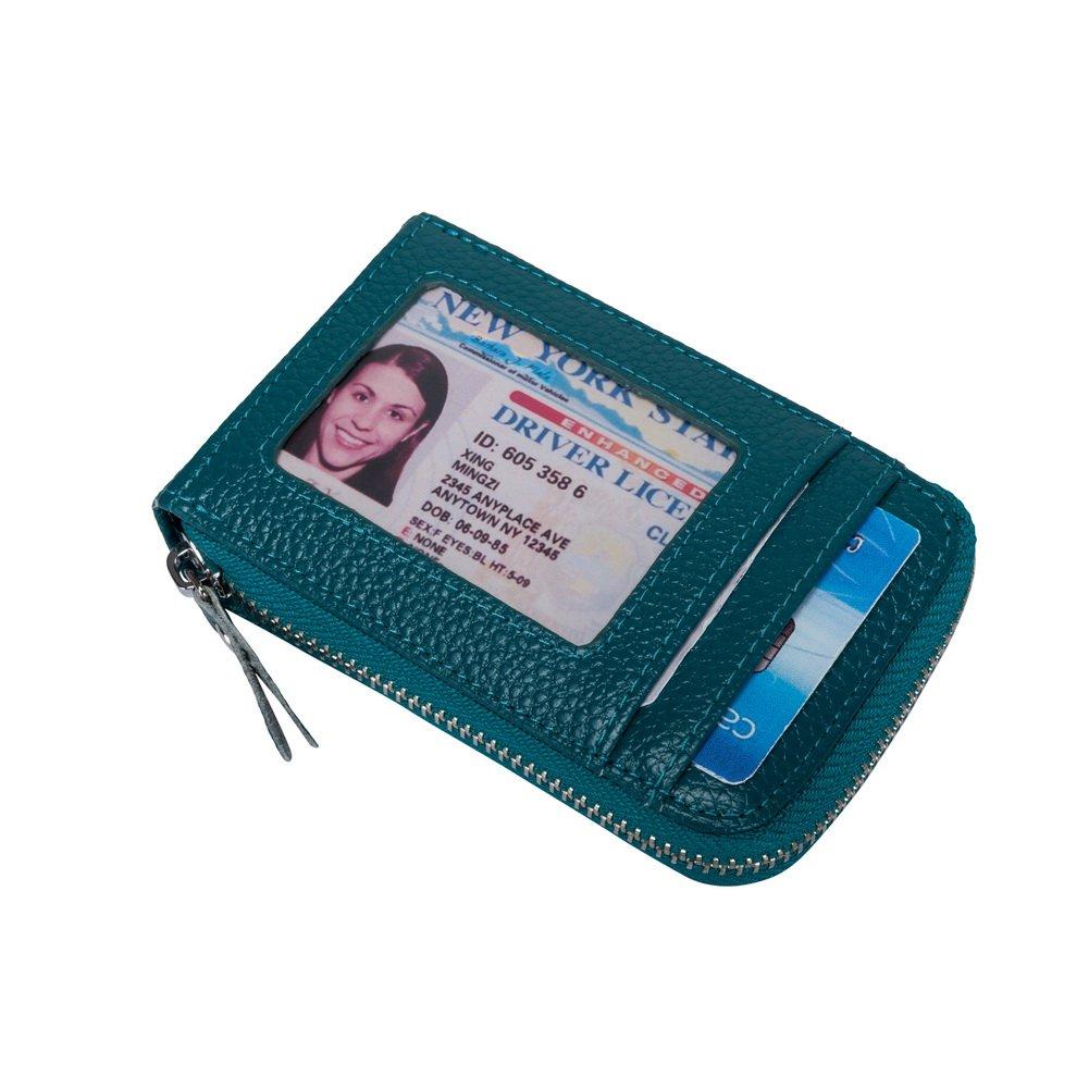 VIVOCASE Genuine Leather Multi Card Money Organizer Credit Card Holder Wallet with Zipper Pocket (Blue)
