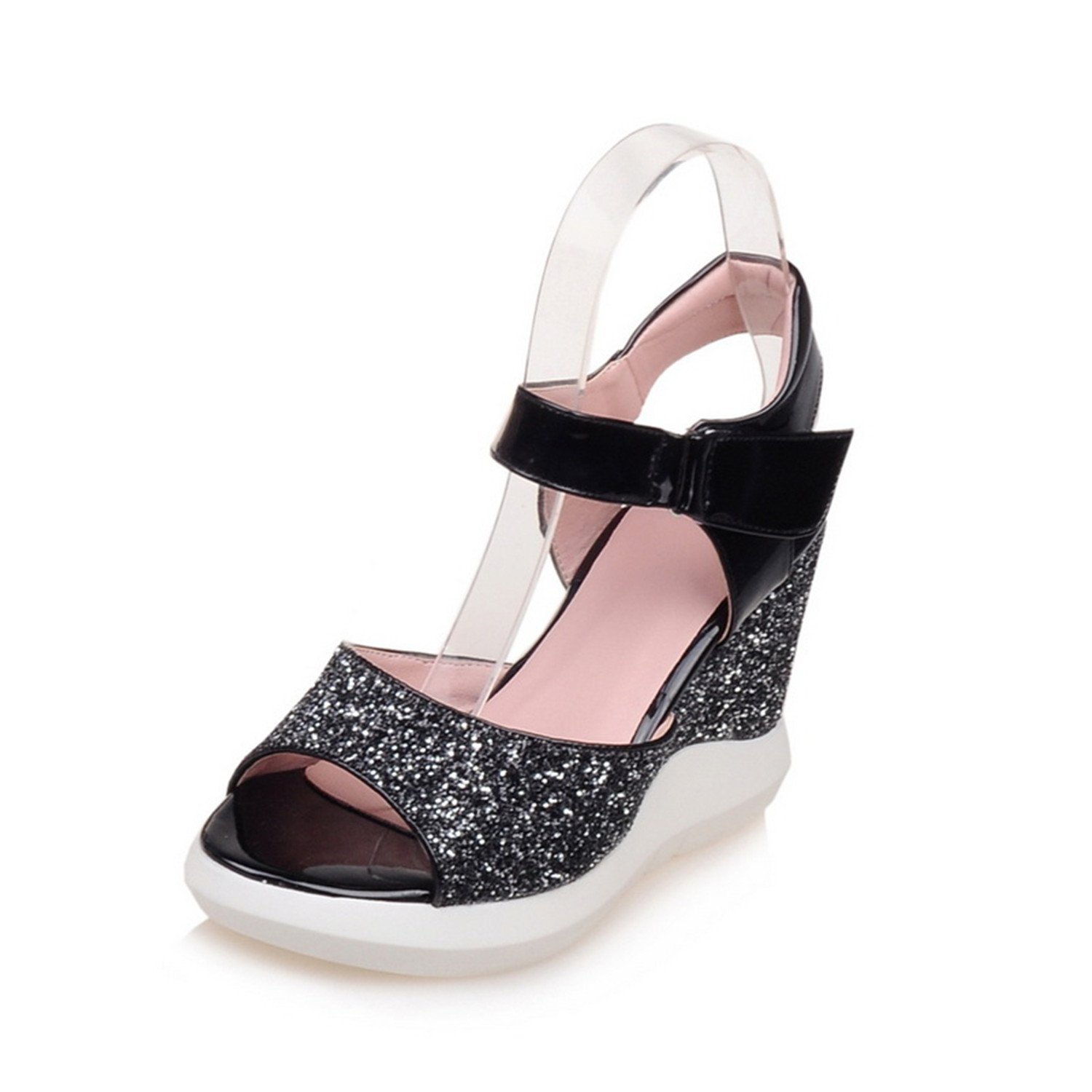 Esthesis High Heel Slippers Summer Platform Wedge Sandals Sequin Women Casual Sandals Comfort  7|Schwarz