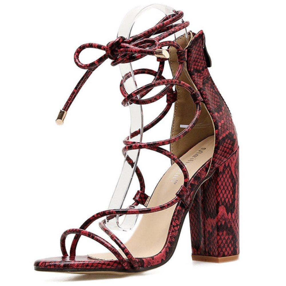 ZPFMM Frauen Open Toe Strappy Strappy Strappy Block Damen High Heels Knöchelriemen Binden Sandalen Schuhe Größe 81b33e