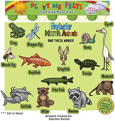(Playtime Felts Freshwater Marsh Animals and Their Names Felt Set for Flannel Board Storytime)