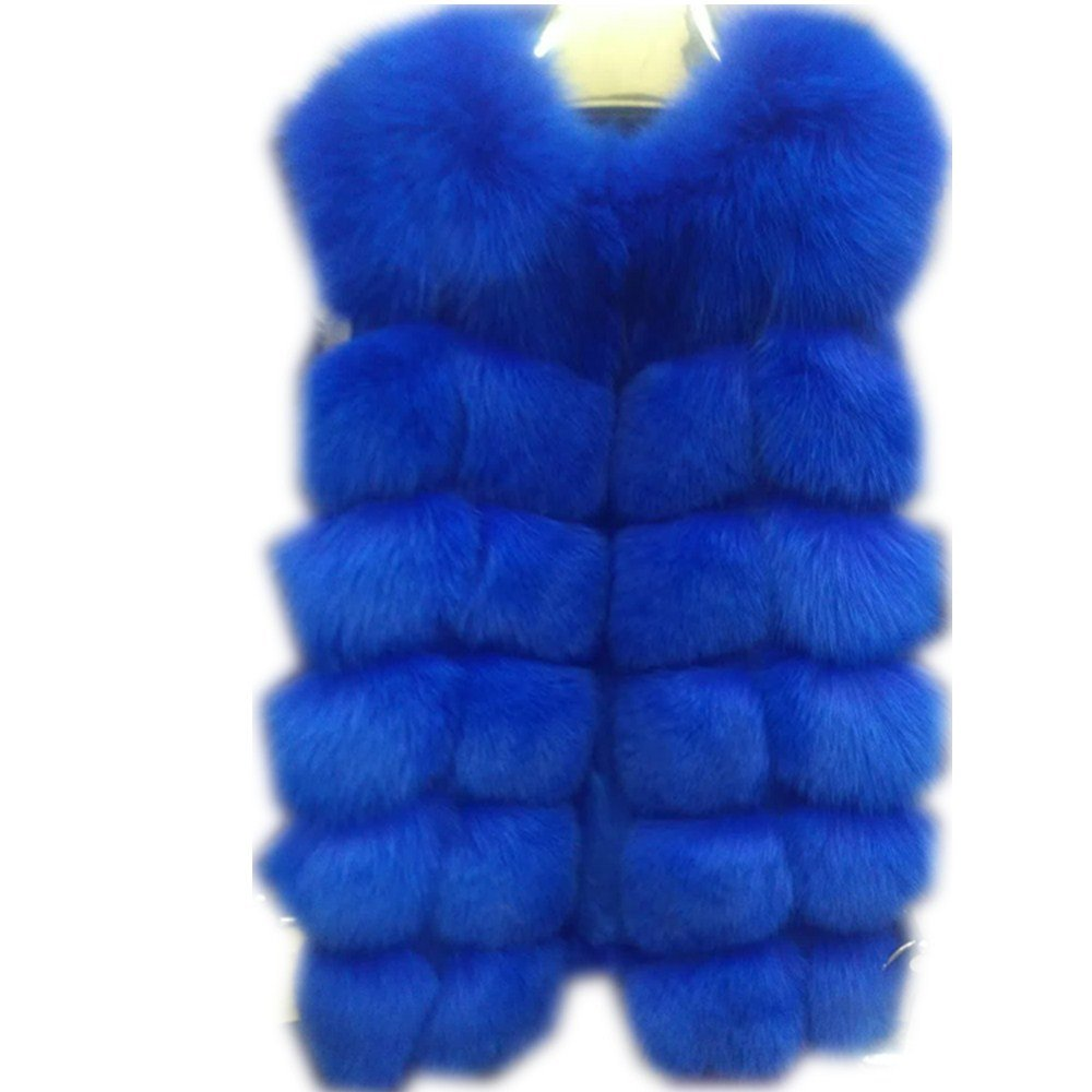 bluee qmfur Women's Fox Fur Vest Real Fur Sleeveless Winter Warm Waistcoat