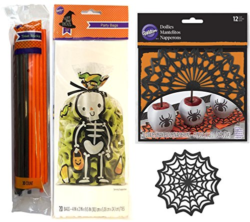 Scary Good Treats Halloween Baking Party Decoration bundle 30 Treat stick holders + Skeleton Clear Candy Gift Bags + Spider Web Black Doilies -