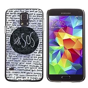 FlareStar Colour Printing Help Sos Student School Text Funny cáscara Funda Case Caso de plástico para SAMSUNG Galaxy S5 V / i9600 / SM-G900F / SM-G900M / SM-G900A / SM-G900T / SM-G900W8