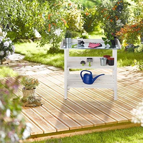 Relaxdays Mesa Jardinería, Estantería Plantas para Invernadero, Jardín o Balcón, Madera-Acero, 86 x 92 x 41 cm, Blanco: Amazon.es: Jardín