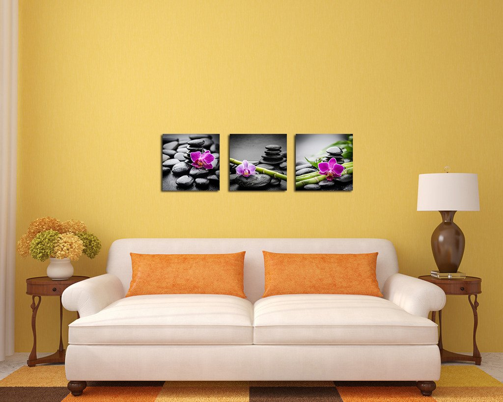 Amazon.com: Purple Verbena Art Canvas Painting Wall Decor SPA Stone ...