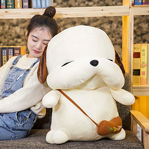 Lovely Embroidery Cuddly Ins Cartoon Cute Puppy Dog Stuffed Animals 3D Plush Lumbar Soft Hugging Figure Bolster Bed Cushion Nursery Home Office Decor Baby Play Toy Sleeping Throw Pillow Gift White by ORGEN HOME (Image #2)