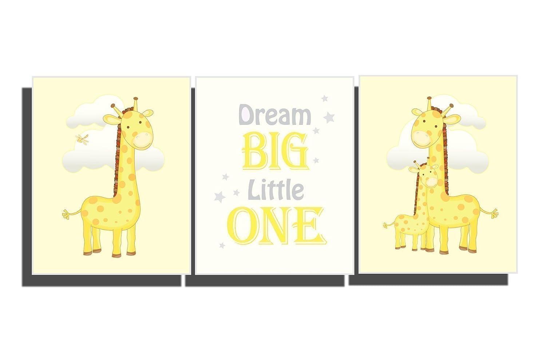 Amazon.com: Yellow Nursery Wall Art Baby Girl Boy Bedroom Decor ...