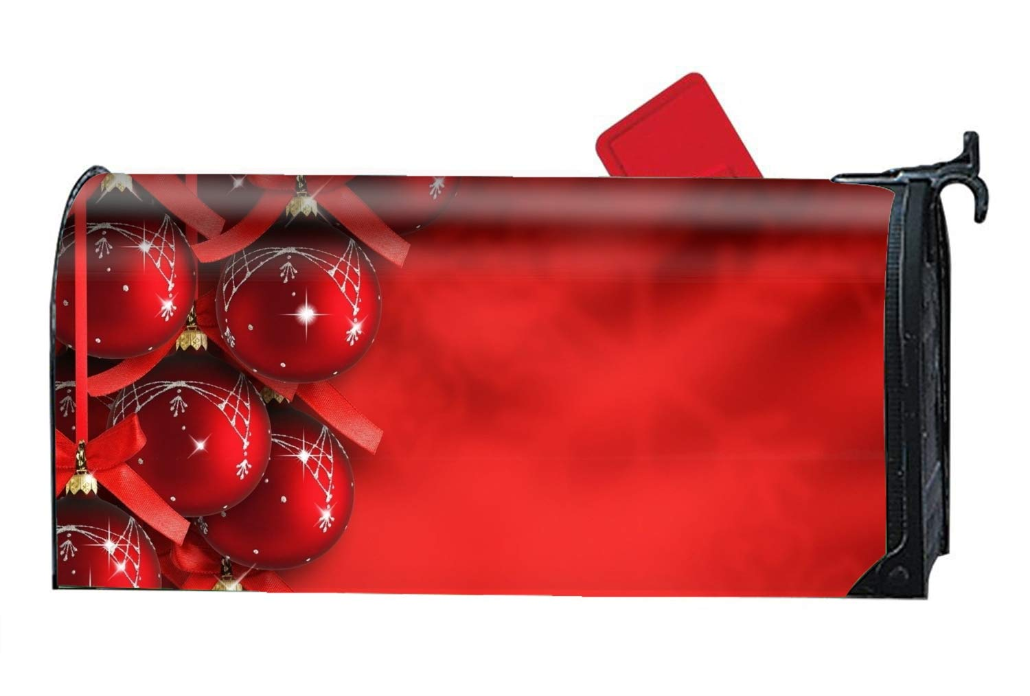 FANMIL Magnetic Mailbox Cover - Holiday Christmas Ornaments Red, Decorative Vinyl Mailbox Wrap for Standard Size - Welcome Home by FANMIL