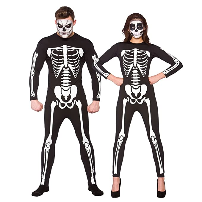 Halloween Skeleton All In One Bodysuit Costume Fancy Dress Outfit Adult Size