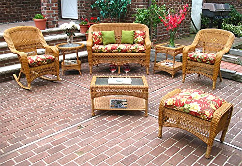 (4 Pc Belair Resin Wicker Furniture Set with Cushions-Golden Honey-SP-967)