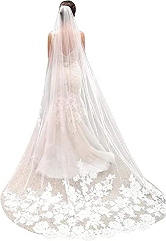 New White//ivory 1T Bridal Cathedral Lace Edge Bridal Wedding Veil With Comb