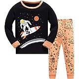 HIKIDS Pijama Niño Invierno-Pijama para Niños-Pijamas de Astronauta Cohete Planeta Excavador Tractor Coche Camión para…