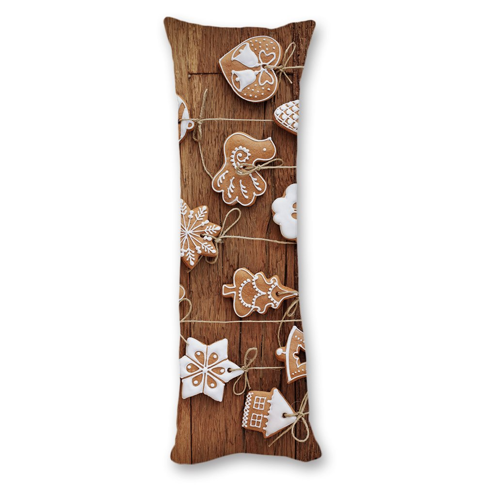 Ojngdafs Christmas Ornament Wood Pattern Cushion Decorative Body Pillow Covers Cases With Double Sided 20''x54''