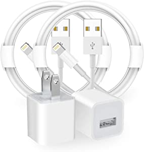 [Apple MFi Certified] iPhone Charger, 2 Pack Lightning to USB Fast Charging Sync Transfer Cord & Rapid Wall Charger Travel Plug Compatible with iPhone 12/11/XS/XR/X 8 7/iPad, Support All iOS System