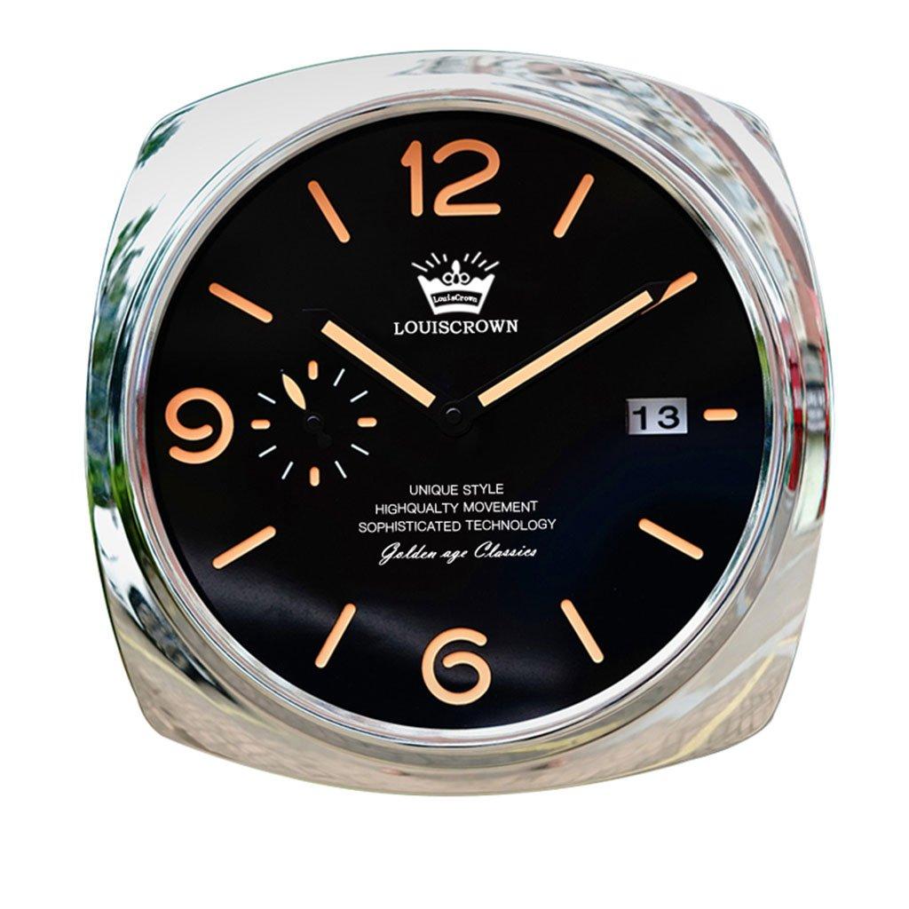 ホーム&時計 ダークなクラシックな装飾的な壁掛け時計、サイレントノンティッキング、12インチのブラックとシルバーのダイヤル ( 色 : D ) B07BRNMVT3D