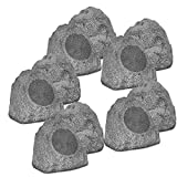 Theater Solutions 10R8G Outdoor Granite 8'' Rock 10 Speaker Set for Deck Pool Spa Yard Garden