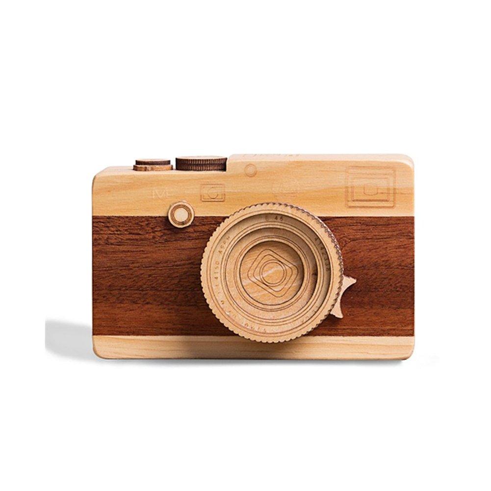 FuturePlusX Creative Wooden Music Box, Retro Camera Designed Wooden Gift Music Box for Boys Girls Home Decoration