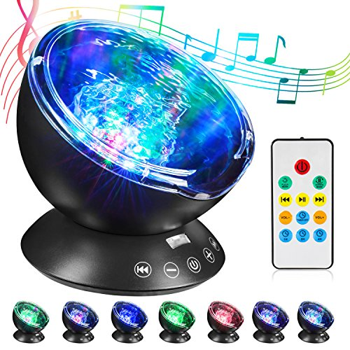 HogarTech Remote Control Ocean Wave Projector 12 LED Night Light with Built-in Mini Music Player & 7 Colors Night Lamp for Bedroom Living Room Parties (Black)