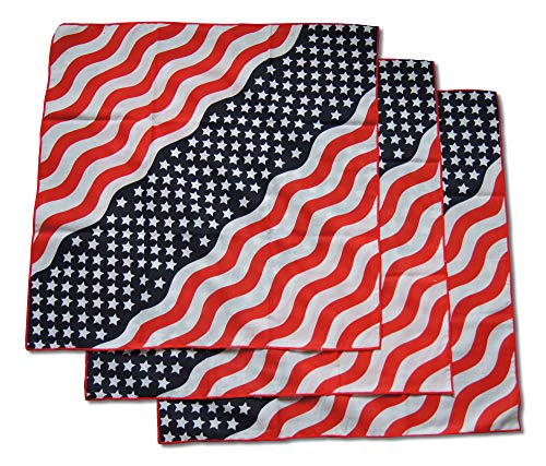 American Flag Stars & Stripes Patriotic Bandana Headband Set includes Three Large Squares in Classic Red, White, Blue US Design (3 Pieces) -