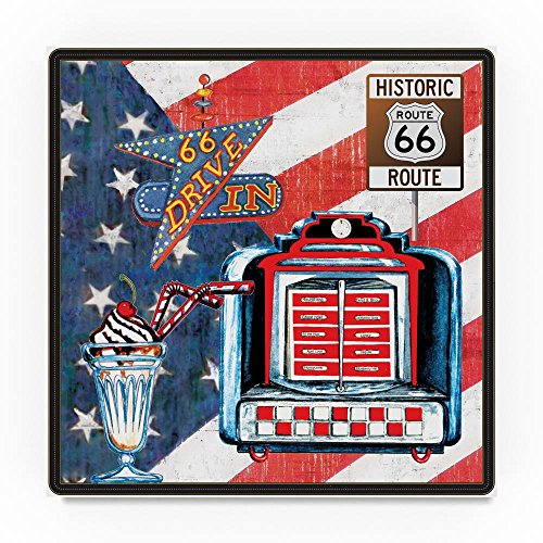 All American Route 66 Jukebox by Sher Sester, 35x35-Inch Canvas Wall Art